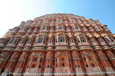 The beautiful Hawa Mahal in the pink city of Jaipur.