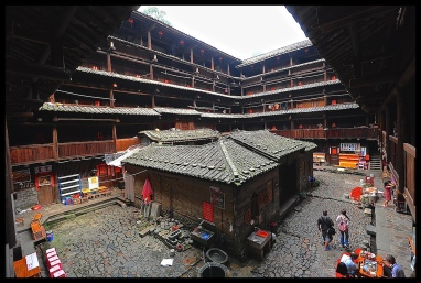 A square Tulou in Fujian, China